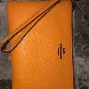 Yellow Gold Coach Handbag Wallet Clutch Wristlet